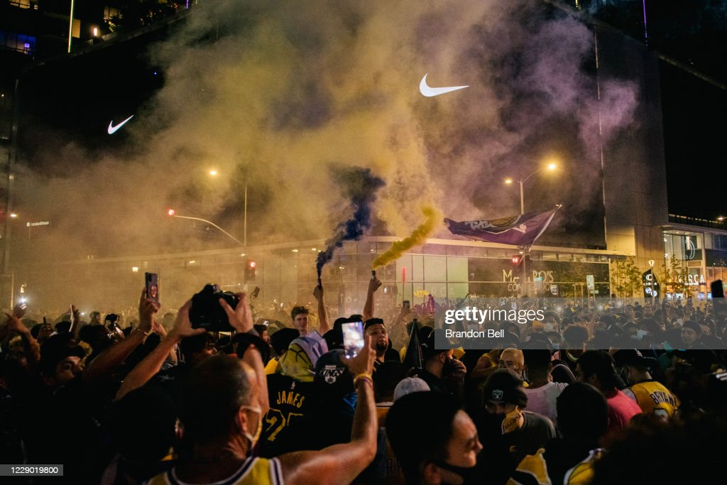 Fans Celebrate In Los Angeles After Lakers Win NBA Finals : News Photo