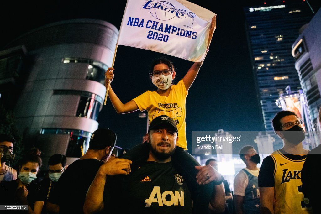 Fans Celebrate In Los Angeles After Lakers Wins NBA Finals : News Photo