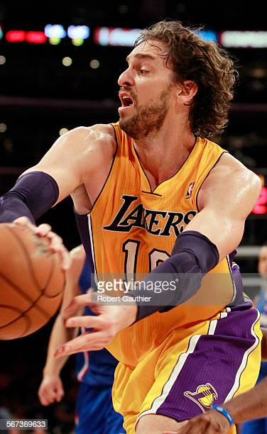 LOS ANGELES CA FRIDAY NOVEMBER 2 2012 FILE Lakers forward Pay Gasol tries to thread a pass between players during The LA Lakers and the LA Clippers...