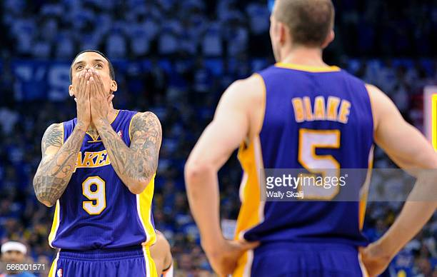 Lakers Matt Barnes reacts late in the 4th quarter against the Thunder in Game 2 of the NBA Western Conference semifinal in Oklahoma Wednesday
