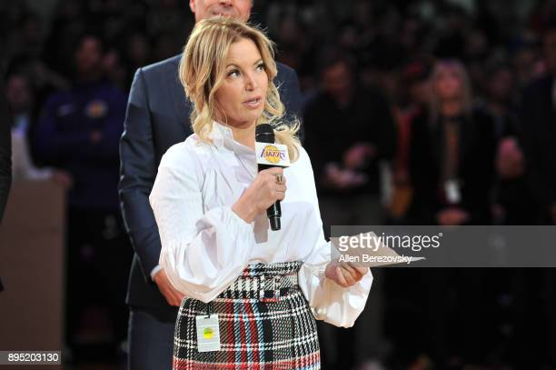 Lakers owner Jeanie Buss speaks at Kobe Bryant's jersey retirement ceremony during halftime of a basketball game between the Los Angeles Lakers and...