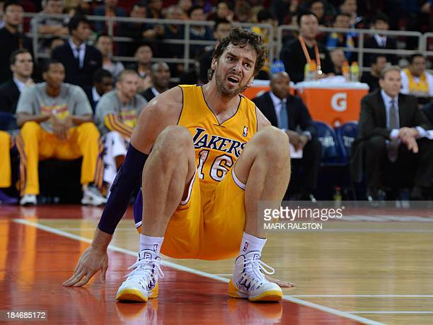 Lakers' Pau Gasol stands up during the NBA Global Game 2013 tour basketball match LA Lakers vs Golden State Warriors at the Wukesong Stadium in...