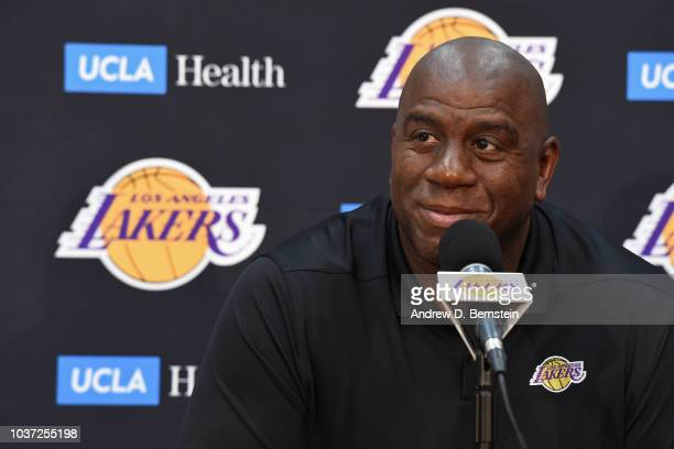 Lakers President of Basketball Operations Earvin Magic Johnson and General Manager Rob Pelinka conduct a press conference at the Lakers UCLA Health...