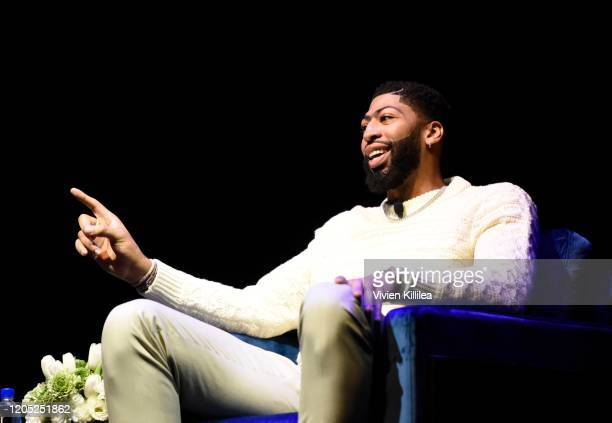 Lakers star Anthony Davis speaks onstage at the First Entertainment x Los Angeles Lakers and Anthony Davis Partnership Launch Event at The Theatre at...