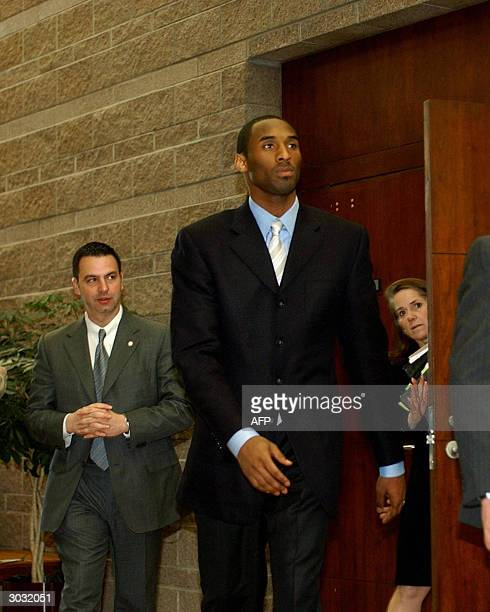 Lakers star Kobe Bryant and his attorney Pam Mackey leave the Eagle County Justice Center after pretrial hearings 01 March 2004 in Eagle Colorado The...