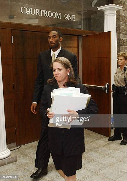 A Lakers Star Kobe Bryant and his attorney Pamela Mackey leave courtrooom one for a morning break at the Eagle County Justice Center on the May 11...