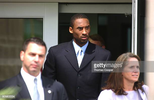 Lakers star Kobe Bryant and his attorney Pamela Mackey leave the Eagle County Justice Center June 21 2004 in Eagle Colorado Kobe is due back in court...
