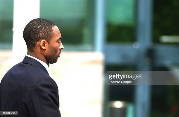 Lakers star Kobe Bryant leaves the Eagle County Justice Center June 21 2004 in Eagle Colorado Kobe is due back in court for day two of two days of...
