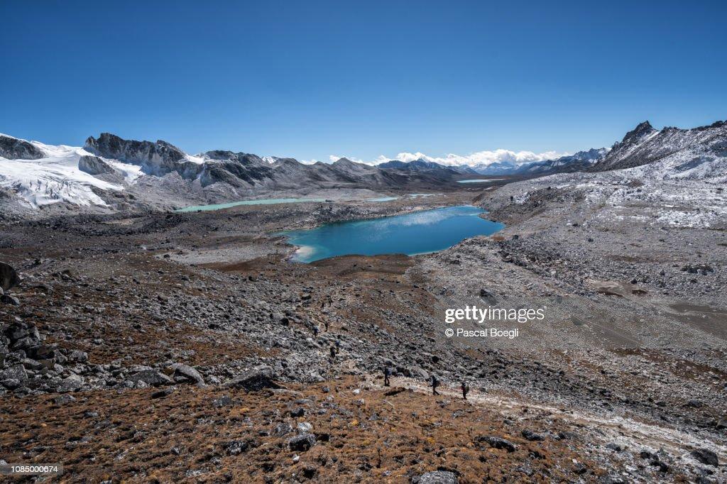 Lakes and high plain en route to Chukarpo, Wangdue Phodrang district, Snowman Trek, Bhutan : Stock Photo