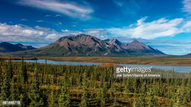 Lakes of Central Alaskan Range Route 8 Denali Highway Alaska a dirt road offers stunning views of Mt Hess Mountain Mt Hayes and Mt Debora