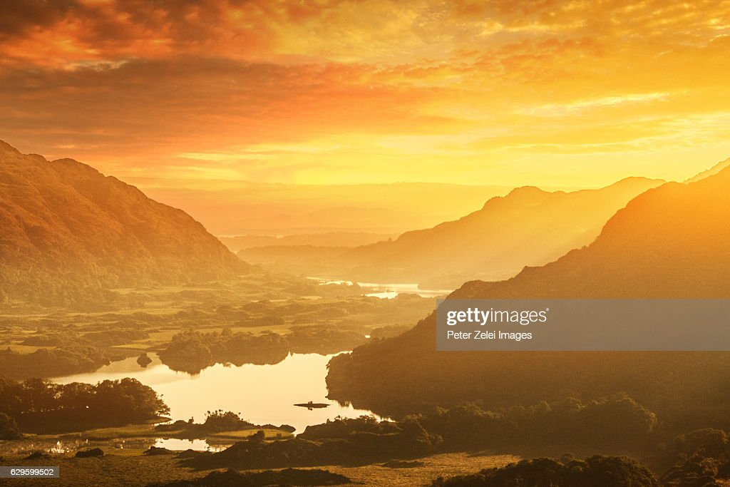 Lakes of Killarney at sunrise - Ring of Kerry, County Kerry, Ireland. View from the scenic point called Ladies View. : Stock Photo