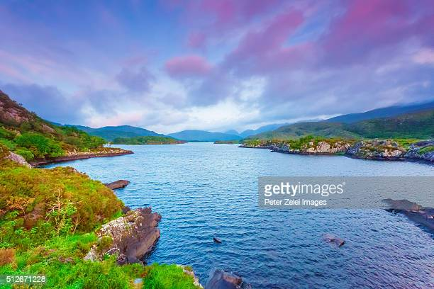 lakes of killarney in county kerry, ireland at dusk - ring of kerry stock photos and pictures