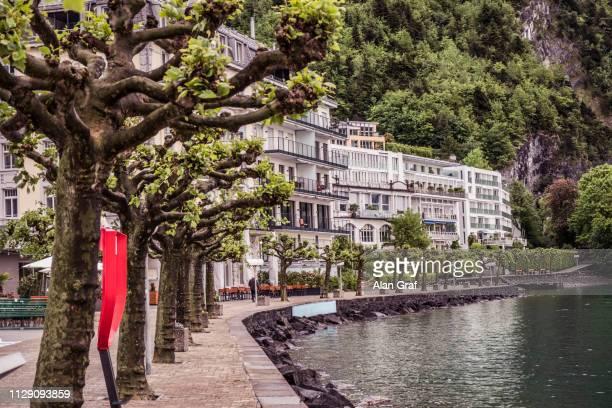 lakeside apartments, schwyz, canton of schwyz, switzerland - schwyz stock pictures, royalty-free photos & images