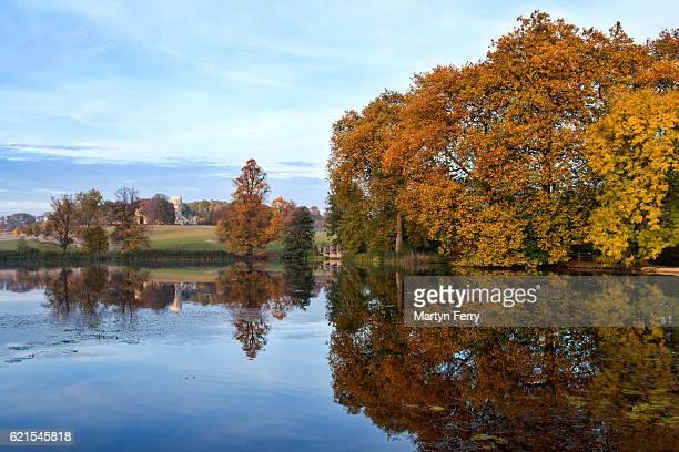 Lakeside Autumn Reflection, Wimpole Estate, Arrington, Cambridgeshire, East Anglia, UK