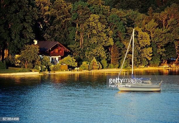 Lakeside chalet at sunset on Lake Starnberg in Bavaria