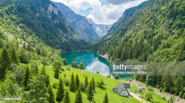 lakeside cottage in scenic forested canyon - montenegro imagens e fotografias de stock