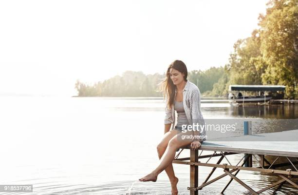 lakeside getaway - instant relaxation - jetty stock pictures, royalty-free photos & images