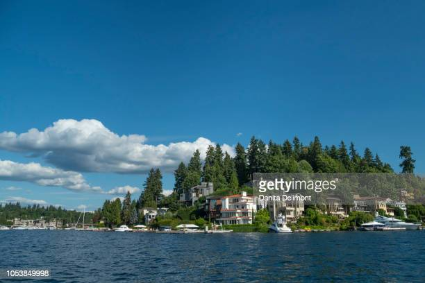 lakeside houses seen from lake washington, bellevue, king county, washington state, usa - bellevue washington state stock photos and pictures