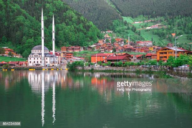 lakeside mosque, uzungol, trabzon, black sea region, turkey - trabzon stock photos and pictures