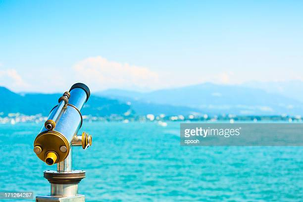 lakeside telescope - bodensee stock-fotos und bilder