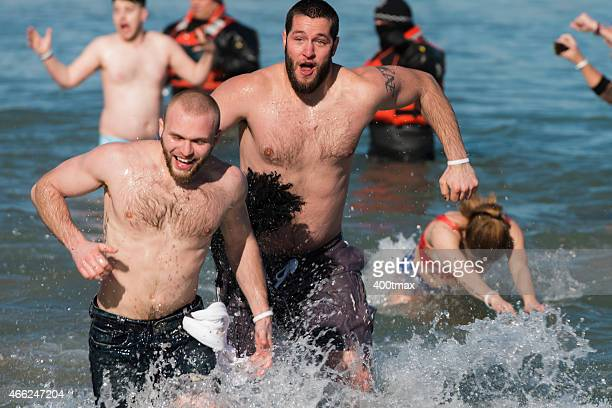 lakeview polar plunge - chicago polar plunge stock pictures, royalty-free photos & images