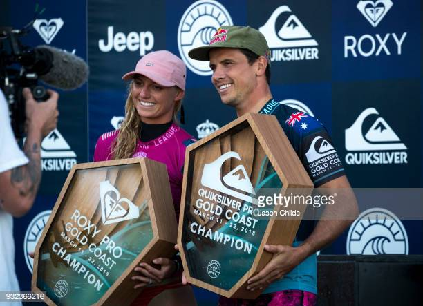 Lakey Peterson and Julian Wilson both claimed victory today in extraordinary conditions at Kirra on the Gold Coast in the Roxy Pro and the Quiksilver...