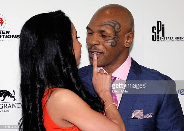 Lakiha Kiki Tyson and her husband Mike Tyson arrive at the grand opening of Mike Tyson's oneman show Mike Tyson Undisputed Truth Live on Stage at the...