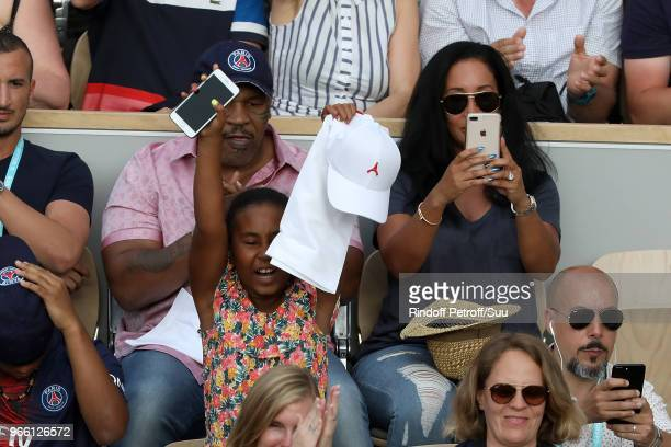 Lakiha Spicer and her daughter Milan Tyson are seen supporting Serena Williams during the 2018 French Open Day Seven at Roland Garros on June 2 2018...