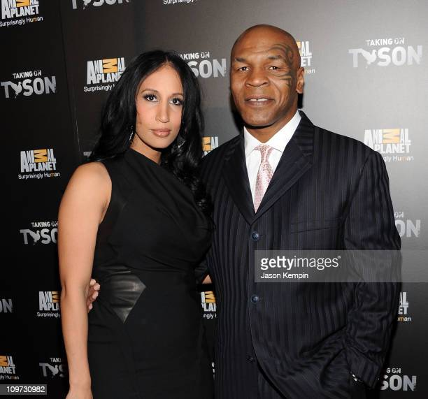Lakiha Spicer and husband Mike Tyson attend the Taking on Tyson New York premiere at Gansevoort Park Avenue on March 2 2011 in New York City