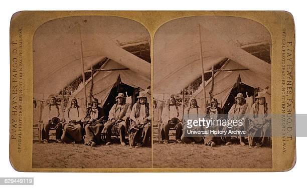 Lakota Chiefs Following their Surrender Standing Rock Reservation Dakota Territory USA Stereo Card 1881