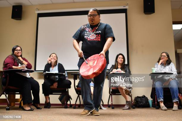 Lakota Language Instructor Allen Wilson front is teaching the language with the rhythm of drum October 20 2018 The Lakota Language Weekend a crash...