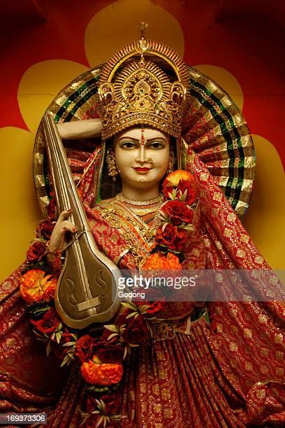 Lakshman temple in Rishikesh Goddess Saraswati with her Veena