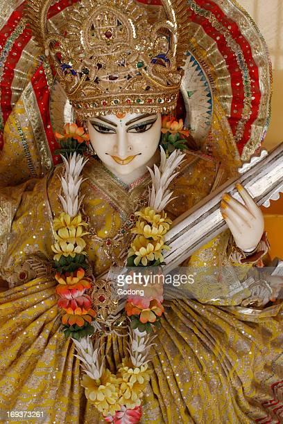 Lakshman temple in Rishikesh Statue of Saraswati holding her Veena