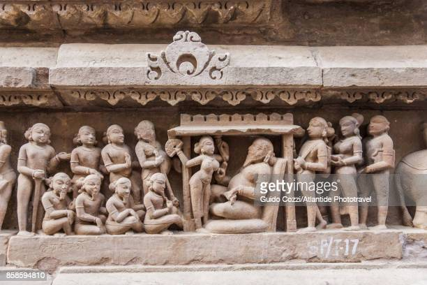 lakshmana temple, detail - khajuraho stock pictures, royalty-free photos & images