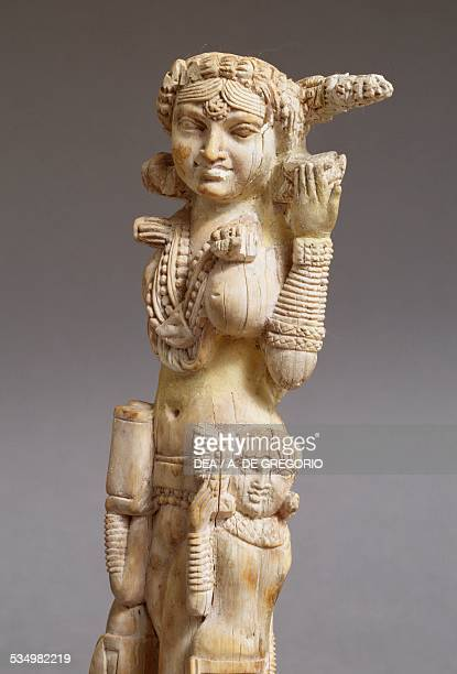 Lakshmi, goddess of abundance, in ivory, artefact found in Pompeii. Indian civilisation. Naples, Museo Archeologico Nazionale