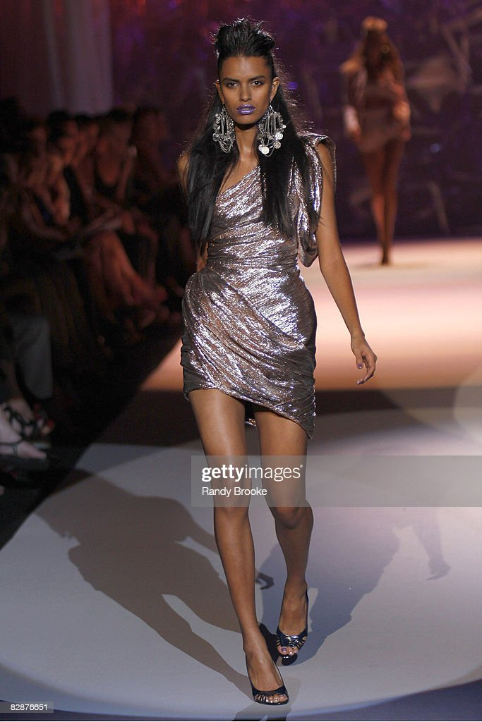 Lakshmi Menon wearing Zac Posen Spring 2009 at The Tent in Bryant Park on September 11, 2008 in New York City.