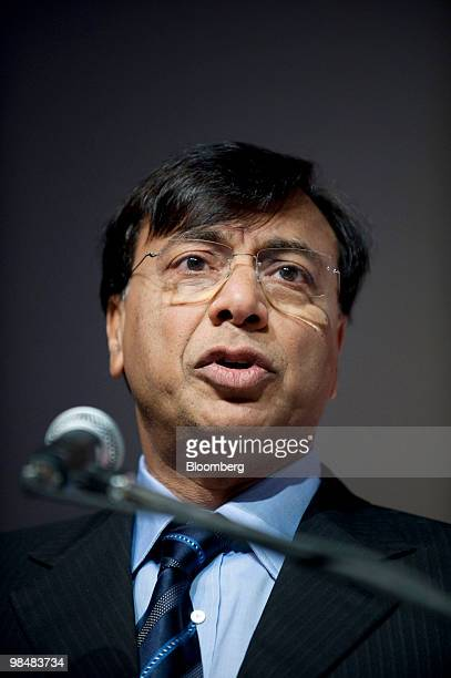 Lakshmi Mittal chairman and chief executive officer of ArcelorMittal speaks during the Brazilian Steel Conference in Sao Paulo Brazil on Thursday...