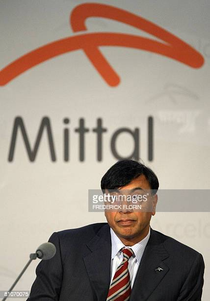 Lakshmi Mittal new chairman of ArcelorMittal the world's largest steel producer and outgoing chairman Joseph Kinsch attend a general meeting of share...