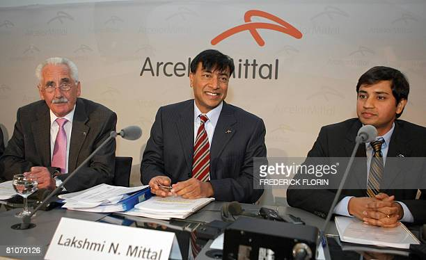 Lakshmi Mittal new chairman of ArcelorMittal the world's largest steel producer outgoing chairman Joseph Kinsch and Aditya Mittal Chief Officer of...