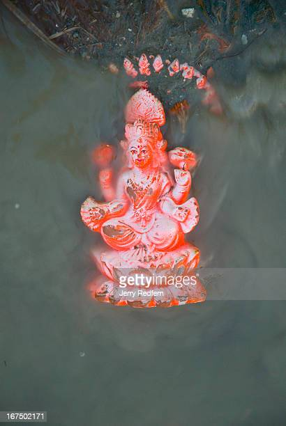 Lakshmi statuette floats in the polluted waters of the Hooghly River after it was set afloat at Babu Ghat at the end of the Kali Puja festival During...