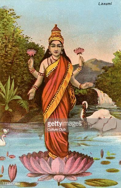 Lakshmi the Hindu goddess of wealth prosperity fortune and beauty Lakshmi consort of Vishnu took on the avatars Sita and Radha when Vishnu became...