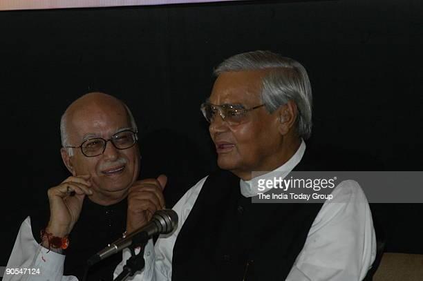 Lal Krishna Advani President of BJP and Former Deputy Prime Minister with Atal Bihari Vajpayee former Prime Minister of India at Kailash Joshi's book...