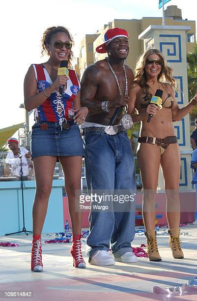 LaLa 50 Cent and Carmen Electra during MTV's 2003 Spring Break Fashionably Loud at Double Tree Surfcomber Hotel in Miami Florida United States
