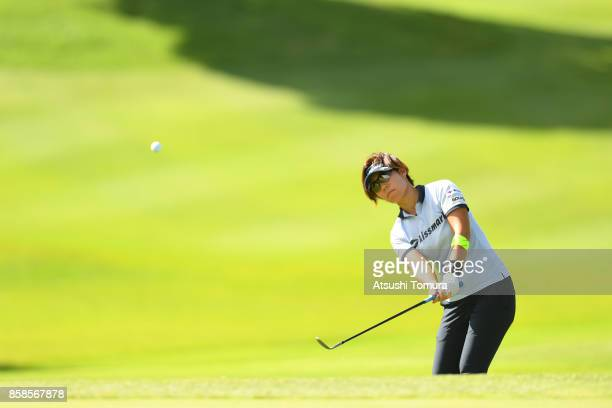 Lala Anai of Japan chips onto 13th green during the second round of Stanley Ladies Golf Tournament at the Tomei Country Club on October 7 2017 in...