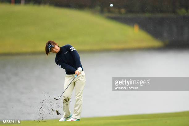 Lala Anai of Japan chips onto the 17th green during the second round of the Higuchi Hisako Ponta Ladies at the Musashigaoka Golf Course on October 28...