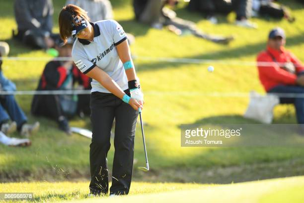 Lala Anai of Japan chips onto the 18th green during the first round of the Higuchi Hisako Ponta Ladies at the Musashigaoka Golf Course on October 27...