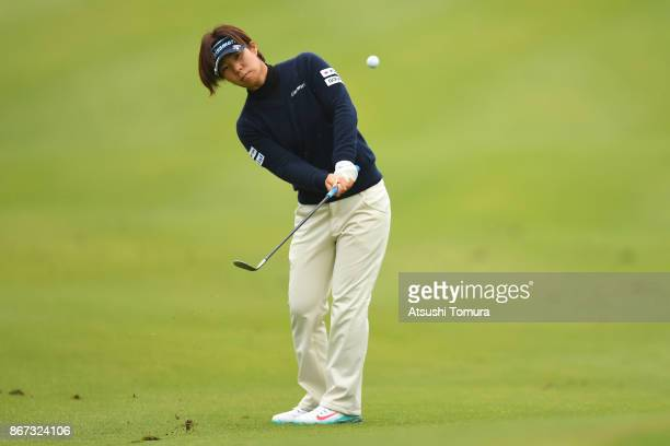 Lala Anai of Japan chips onto the 18th green during the second round of the Higuchi Hisako Ponta Ladies at the Musashigaoka Golf Course on October 28...