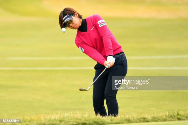 Lala Anai of Japan chips onto the 7th green during the third round of the LPGA Tour Championship Ricoh Cup 2017 at the Miyazaki Country Club on...