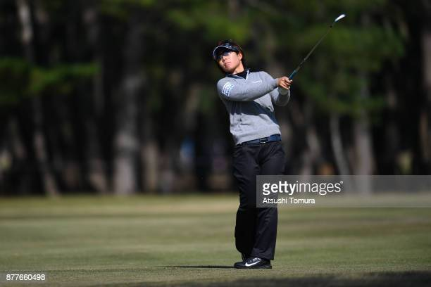 Lala Anai of Japan hits her second shot on the 15th hole during the first round of the LPGA Tour Championship Ricoh Cup 2017 at the Miyazaki Country...
