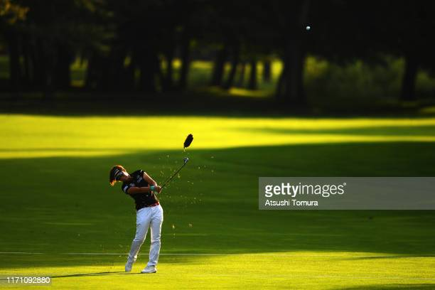 Lala Anai of Japan hits her second shot on the 18th hole during the second round of the Nitori Ladies at Otaru Country Club on August 30 2019 in...